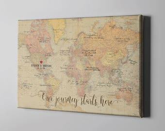 World map guest book etsy sale 50 off canvas guest book rustic vintage world map guest book travel gumiabroncs Image collections