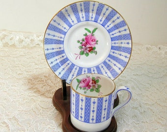 Crown Staffordshire England Fine Bone China Blue Stripe Demitasse Cup And Saucer