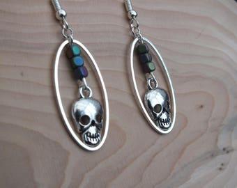 Silver skull earrings, rainbow haematite earrings, oval earrings