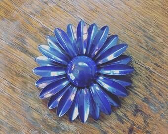 Flower Power Navy Blue Brooch / Hair Clip / Hat Pin