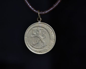 Finland  coin necklace//Suomi Finland coins//1995//Lion//1 markka//Bronze coin//Coin jewelry//