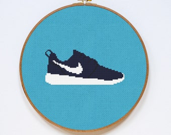 Nike Cross Stitch Pattern, Roshe Shoes Cute Cross Stitch Chart, PDF Format, Instant Download