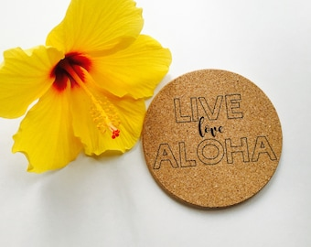 Hawaii Live Love Aloha Coaster Set ~ Hawaii Aloha Coaster ~ Aloha Coaster ~ Live Aloha Coaster ~ Hawaii Coaster Set
