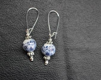 White/Blue Earrings