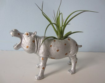 Upcycled Toy Planter - Silver and Gold Polka Dot Hippo with Air Plant
