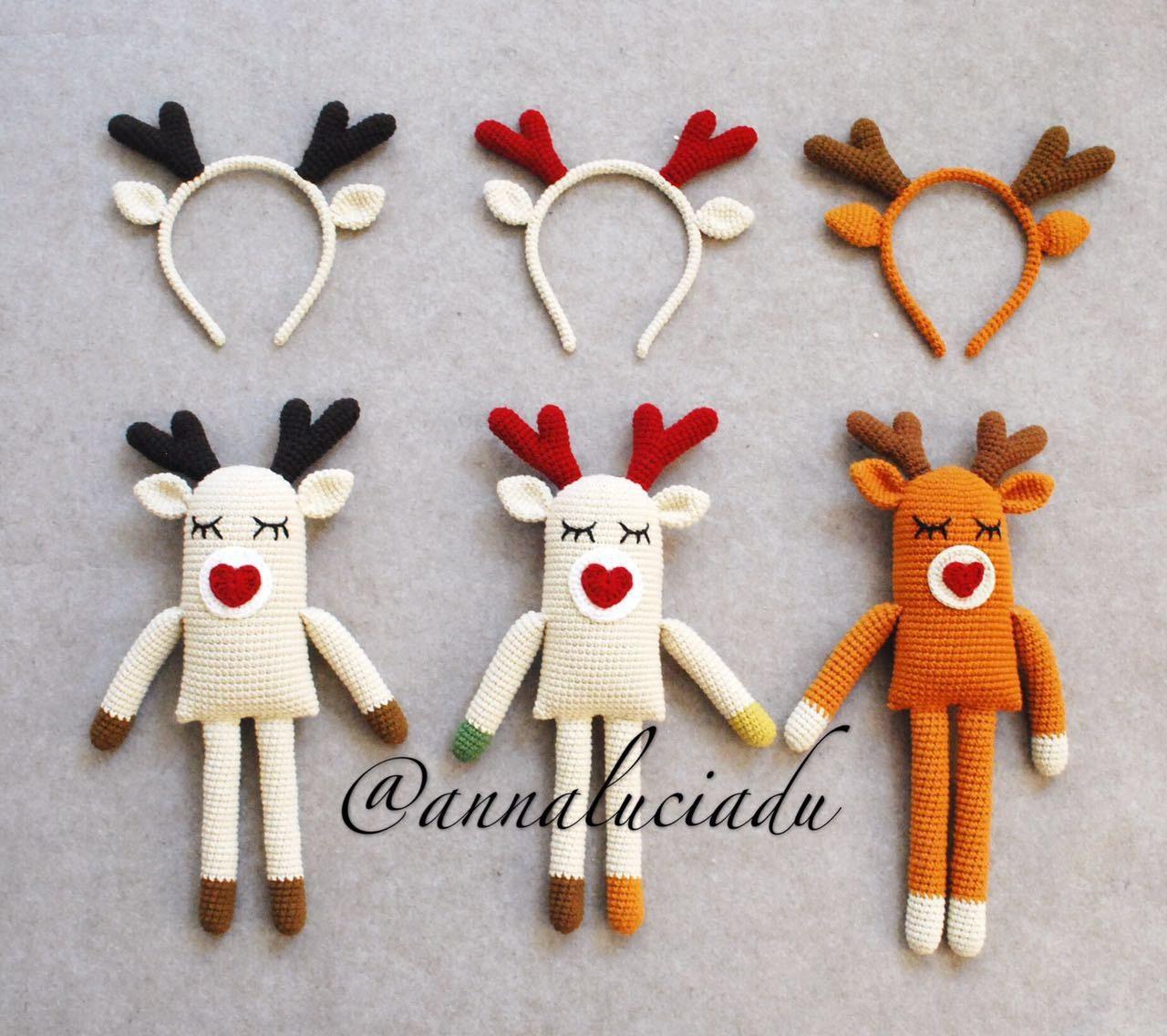 2 pattnens pack(Crochet deer toy and headband) , crochet reindeer ...