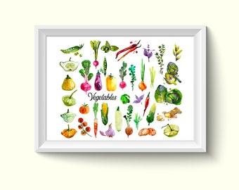 Vegetables Watercolour Painting Drawing Art Print N231