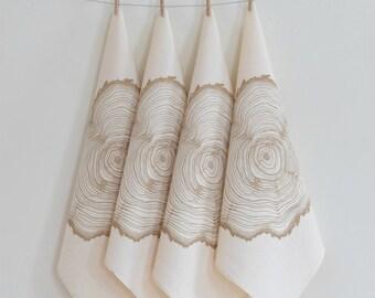 Cloth Napkins - Organic Cotton - Tree Ring Print - Set of 4 - Eco Friendly Dinner Napkins - Woodland Decor - Screen Printed
