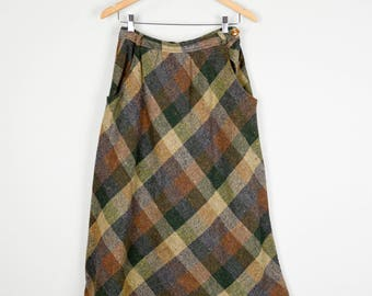 70s Wool Skirt, Vintage clothing, 70s Clothing, Wool Plaid Skirt, Midi Skirt 27, High Waisted Skirt, Vintage Clothes Retro Skirt Brown