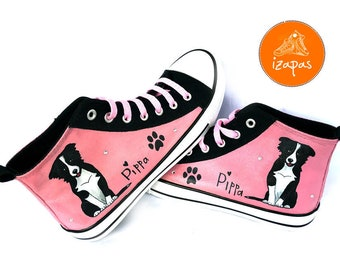 Border Collie Shoes, High Tops, Sneakers, Hand Painted sneakers, dog shoes, Hand Painted shoes, canvas shoes, boots, border collie, dogs