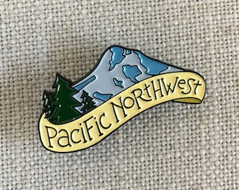 Pacific Northwest Enamel Lapel Pin / Cute Travel Pin / Mountain Pin / Mt Hood / Soft Enamel Pin / PNW Pin / Outdoorsy Gift / Gift for Her