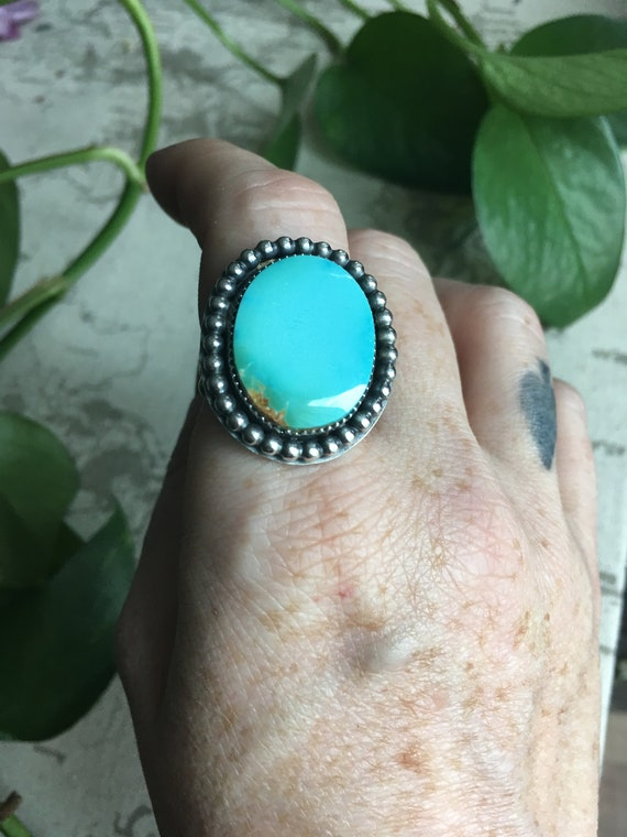 Spirit Bird, Royston Blue, Statement Ring Size  9.5