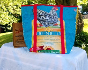 durable canvas tote/ Market bag/ farmers market tote/ Recycled Feed Bag/ canvas tote