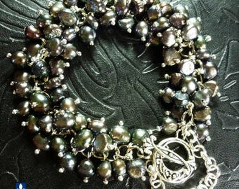 Eternal Natural Iridescent Black Akoya Pearls Silver Plated Bracelet