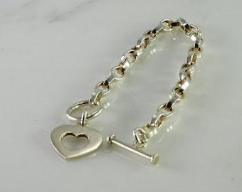 "Toggle Close Heart Sterling Bracelet 8"""