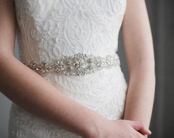 Pearl Bridal Sash | Rhinestone and Pearl Wedding Belt | Crystal Pearl Wedding Sash Belt | Pearl Bridesmaid Belt Sash | SATIN Penelope Sash