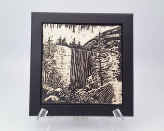 Ceramic Wall Art, Waterfall Art, Framed Ceramic Tile, Art Tile, Wall Tile, Black and White Sgraffito Tile, Carved Tile, Nature Lover Gift