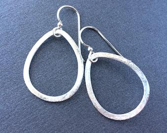 Sterling Hoop Earrings, Sterling Silver Brushed Teardrop, Sterling Silver Earrings, Everyday Silver Hoops