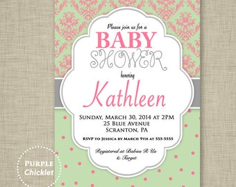 Baby Shower Invitation Damask and Polka Dots Pink Mint Green Gray Elegant Girl Shower Invite 5x7 Printable Party Invite JPEG file 25