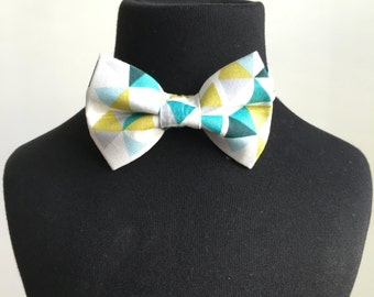 Mens Geometric Bow Tie - Boys bow tie, Cake smash bow tie, Pre-tied bow tie, Organic cotton bow tie, Baby bow tie, Bowtie, Gift under 25