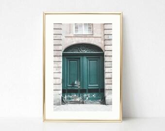 Green Decor Art // Paris Door Photography // Gallery Wall Prints // Color // Paris Gifts For Her // Large Wall Art // Door Wall Prints