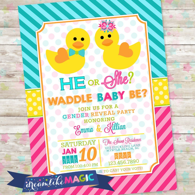 Waddle it be duck gender reveal invite he or she rubber zoom stopboris Images