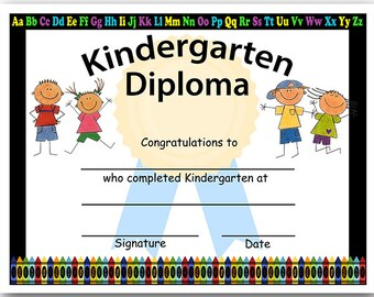 Diploma certificate etsy kindergarten graduation blank diploma instant download yadclub Image collections