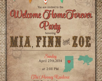 Welcome Home Forever Party Invitation/Adoption Celebration : Fall Colors with Bunting