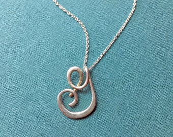 Calligraphy Initial Necklace in sterling silver, wedding, bridal party, bridesmaid, graduation gift