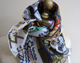 SILK scarf SQUARE, stained glass, hand rolled, ladies headscarf, silk hair wrap, turban, choker scarf, fashion scarf, 34 inch, carre