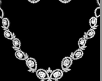 New Bridal CZ Oval Crystal & Rhinestone Necklace and Matching Pierced Earring Set