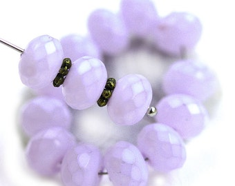 6x9mm Lilac Czech glass beads, Light Lavender coated spacer rondel beads, fire polished gemstone cut - 12Pc - 1567