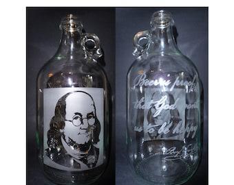 Ben Franklin Beer is Proof 64oz etched Beer Growler