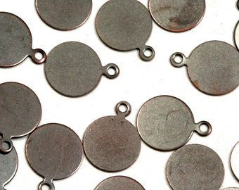 150 pcs antique tone brass 8 mm circle tag charms, findings 94AB-30