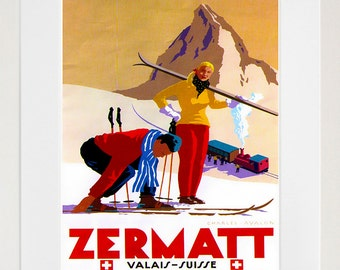 Zermatt Travel Art Poster Print Swiss Wall Decor (XR132)