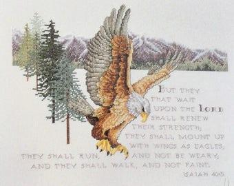 Isaiah 40:31 Cross Stitch Pattern Leaflet Leisure Arts 2569 Bible Verse Bald Eagle