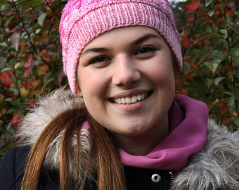 Stylish Hand  Knitted Pink Hat Autumn Winter Spring Fashion Accessories Womens Teen hat Handmade