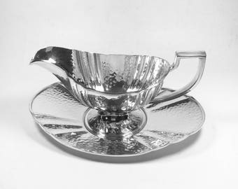 Apollo EPNS Hammered Deco Silverplate  Sauceboat & Tray Pat. 4225 by Bernard Rice's Sons Inc.