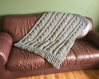 Chunky Blanket, Chunky Knit Blanket, Chunky Crochet Blanket, Thick Crochet Blanket, Throw Blanket, Dorm Decor, Cable Knit Blanket