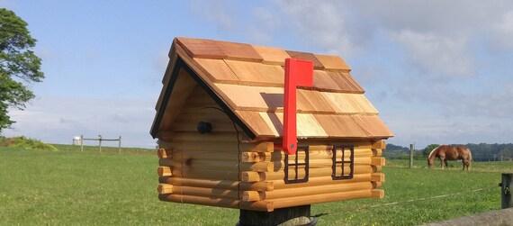Log Cabin Mailbox, Cedar Wood, Handmade, Amish