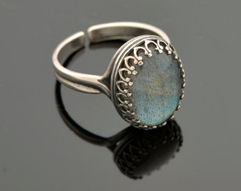 Jewelry Ring Sterling silver ring Gemstone ring Labradorit ring