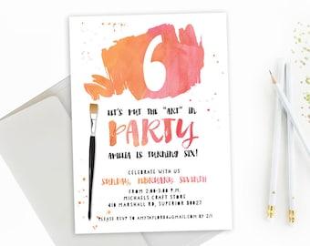 Art Birthday Party Invitation. Art Birthday Party. Art Birthday Invitation. Art Birthday Party Invite. Painting Birthday Party Invitation.