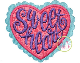 Sweetheart Applique Design For Machine Embroidery,  INSTANT DOWNLOAD now available