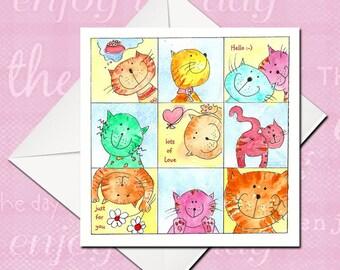Birthday Card, Cute Cat Card, Silly Cat Card