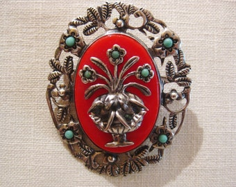 Vintage Mexican Silver Brooch Red Bakelite ? and Turquoise