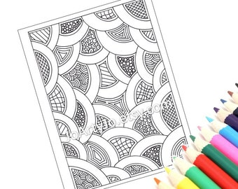 Printable Coloring Page, Zentangle Inspired, Instant Download Zendoodle Pattern, Page 53