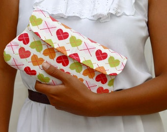 Heart simple clutch - padded clutch - love clutch - Pink, orange and green