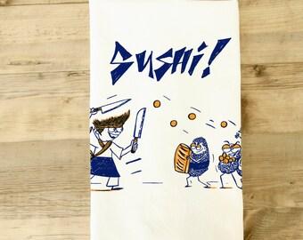 Sushi Kitchen Towel - Funny Tea Towel - Sushi gift set - sushi lover gift - sushi chef - japanese style - japan - sushi decor dish towel