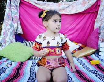 2-3 Year hippie crop top,  Organic Kids Clothing, Toddler Crop Set, Mermaid Birthday, Tutu top, Frida Kahlo Birthday