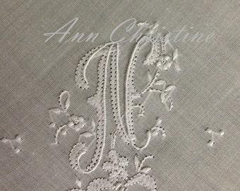 Beautiful N Initial Monogram HAND MONOGRAMMED Handkerchief Hankie UNUSED Vintage Stock Bridal Wedding